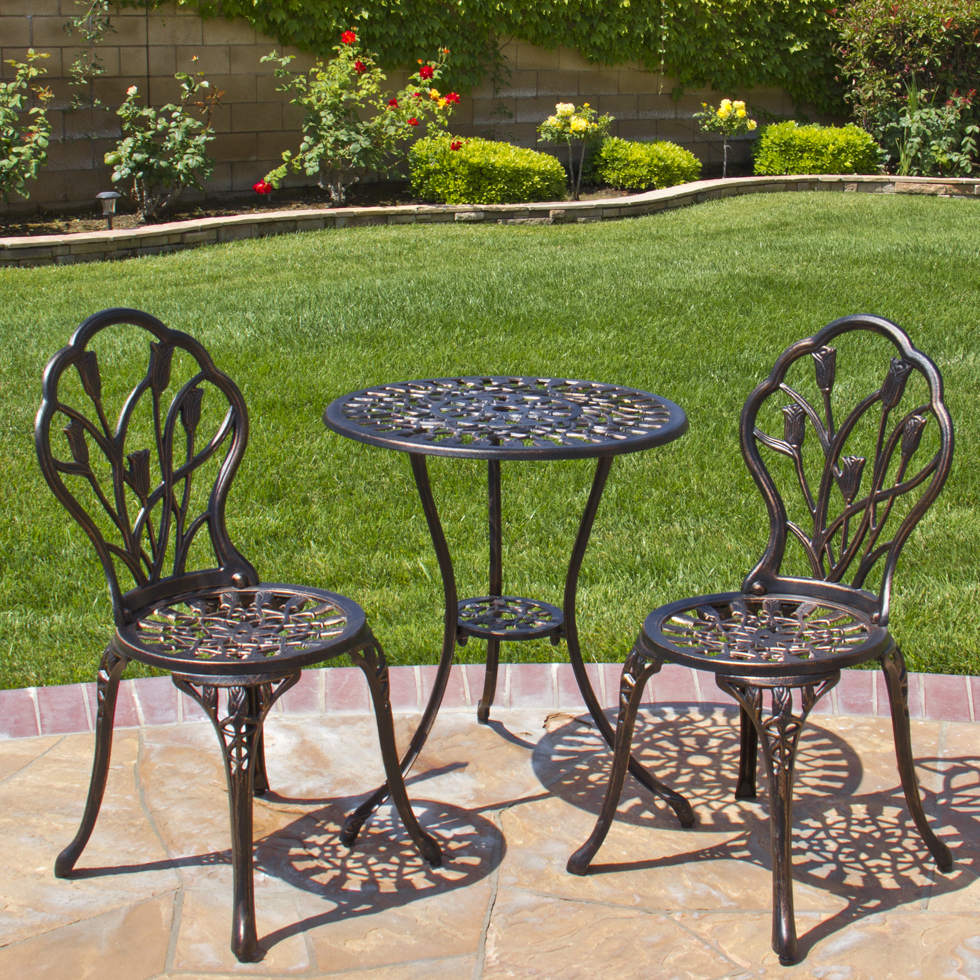 bistro patio set best choice products cast aluminum patio bistro furniture set in antique  copper LYMLYYX