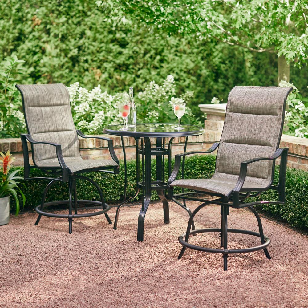 bistro patio set statesville 3-piece steel outdoor bistro set UEAXCQD