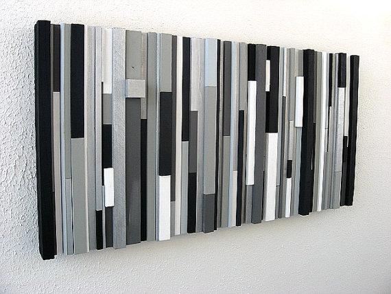 black and white abstract art modern wall art wood sculpture OAXZHEP