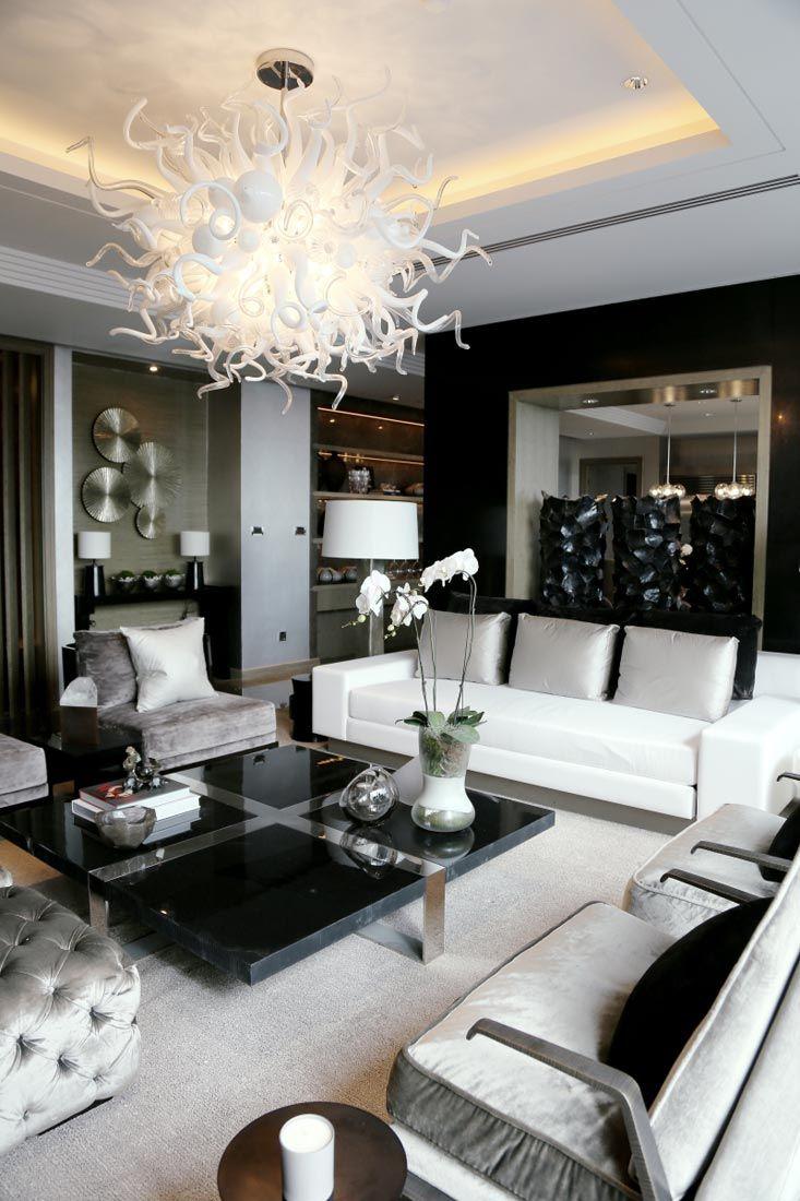 black and white living room elegance in black, white u0026 silver // kelly hoppen interiors RSGRRLR