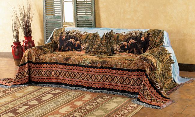 black bear family mountain sofa cover YHWAPQD