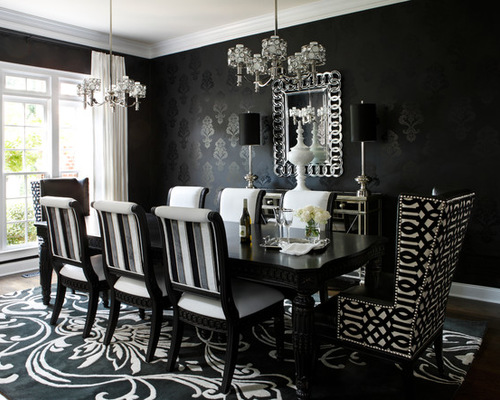 black dining table mid-sized trendy dining room photo in atlanta with black walls and dark KIIVZHN