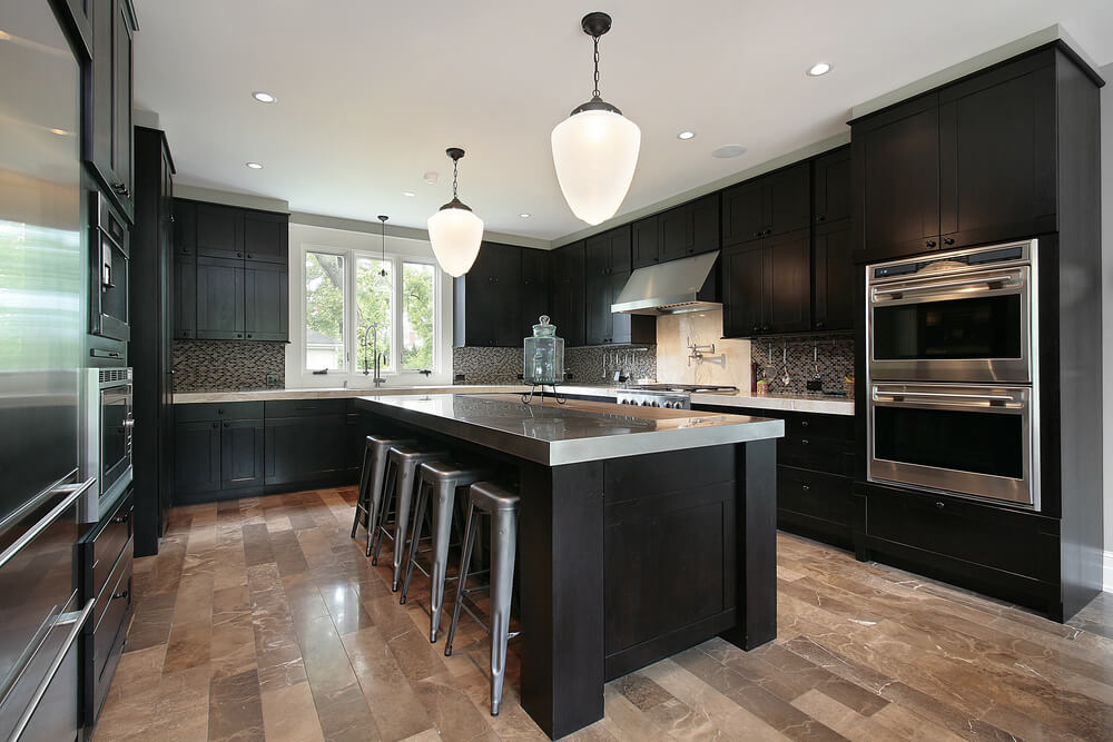 black kitchen cabinets with stainless steel accents SPIQHID