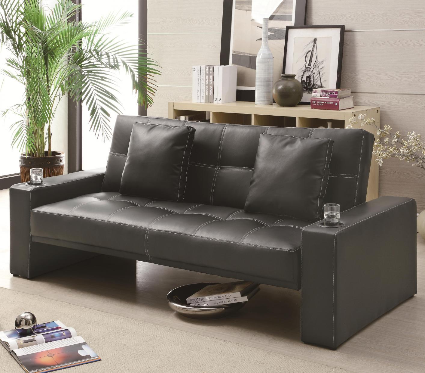 black leather sofa bed DASVUNE
