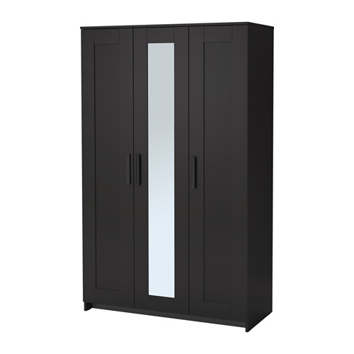 black wardrobe brimnes wardrobe with 3 doors ikea the mirror door can be placed on BJJNIAZ