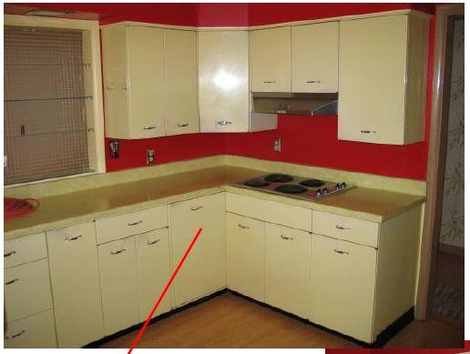 blind corner lazy susans in vintage metal kitchen cabinets: rare sighting. ZMAWXEJ