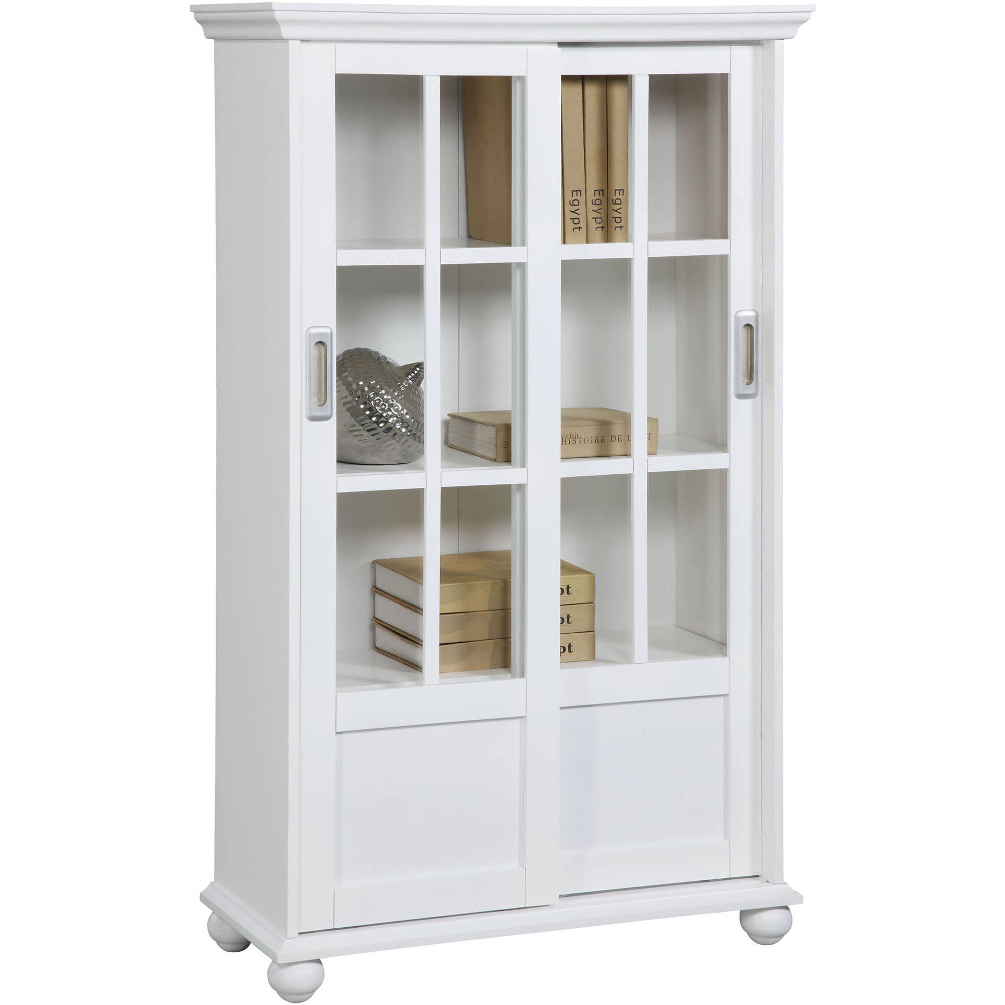 bookcases with glass doors altra aaron lane bookcase with sliding glass doors, white - walmart.com NVPDZIF