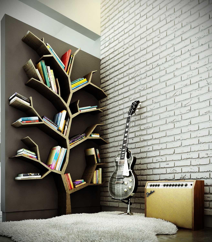 bookshelf ideas 1. geometric tree ZTAYZRP