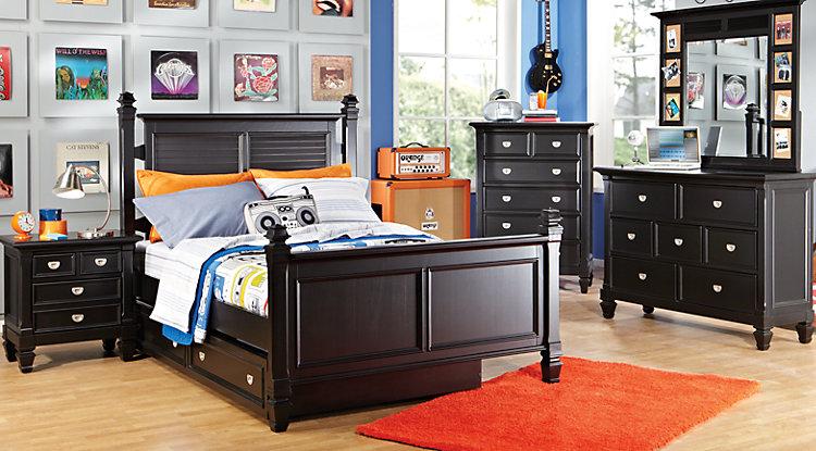 boys bedroom sets belmar black 5 pc full poster bedroom IJVLJXG
