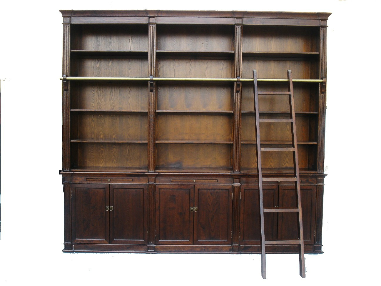 brown large bookcase with ladder EDLMSDV