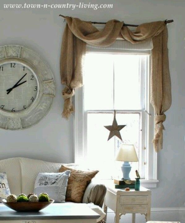 burlap curtains country decorating style in a farmhouse family room CXMTWZH