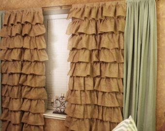 burlap curtains - full panel ruffles IZVGAEW