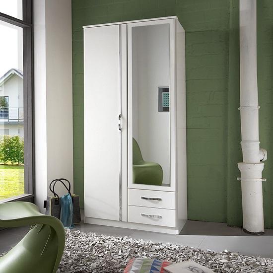 candice mirror wardrobe in alpine white chrome with 2 doors_1 GLZZOPD