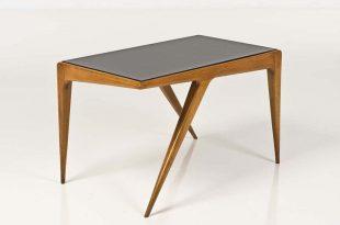 carlo di carli; wood and glass table, 1950s. UWORRMA
