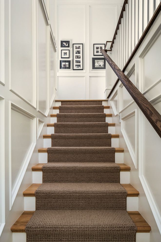 carpet runner carpeting stairs staircase traditional with black and white photography  brown runner recessed LLRGIHK