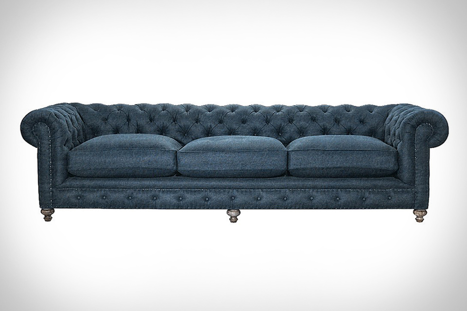 chesterfield denim sofa | uncrate SWHTXBY