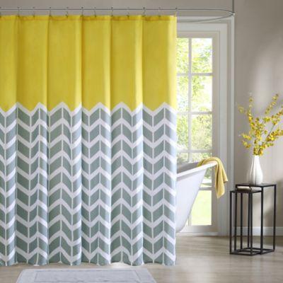 chevron curtains intelligent design nadia shower curtain in yellow JPZQCHW