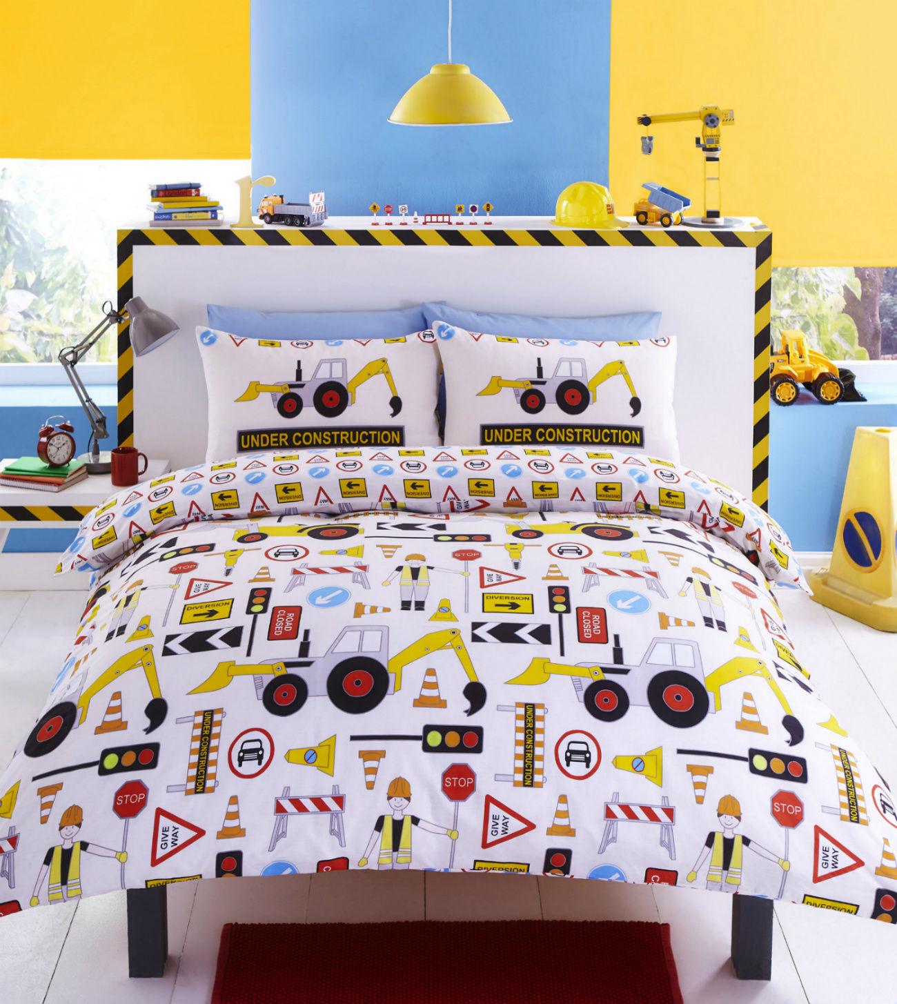 childrens bedding construction-workmen-design-reversible-childrens-bedding-duvet-cover- KIRCAGY