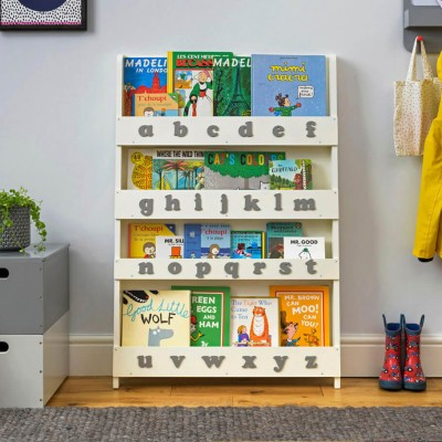 childrens bookcase childrenu0027s bookcase in soft white, lowercase alphabet SMFQOET
