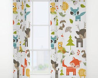 childrens curtains animals curtains, woodland animals window curtains, animals drapes, kids  curtain, forrest curtain WHJLIGG
