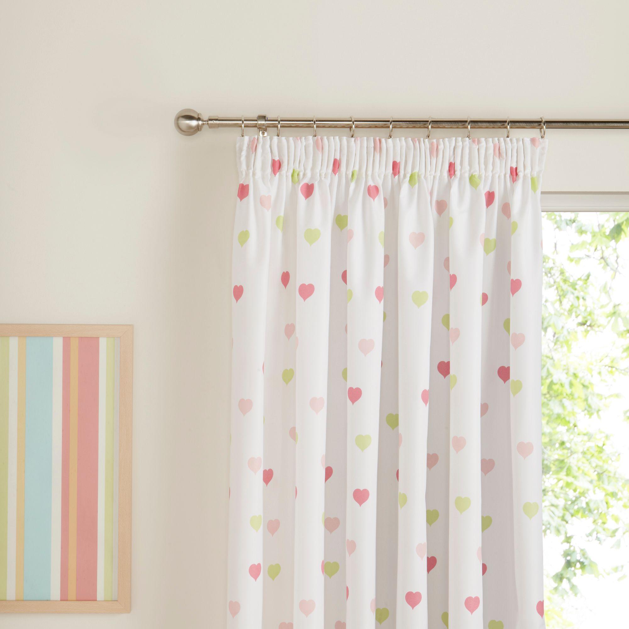 childrens curtains green, pink u0026 white hearts pencil pleat childrenu0027s curtains (w)167cm  (l)137cm | UTXIUEF
