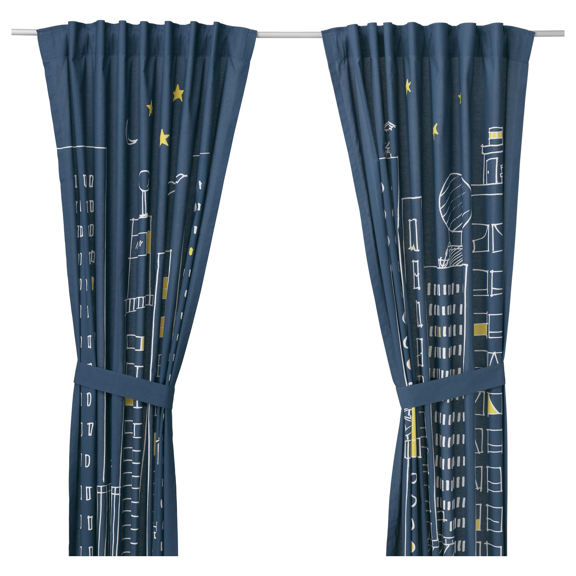 childrens curtains hemmahos curtains with tie-backs, 1 pair, dark blue length: 98  DECMSAX