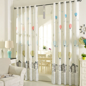 childrens curtains printed air balloon pattern beige poly/cotton blend kids curtains EJQNGFP