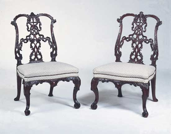 chippendale furniture mahogany ribbonback chairs in the rococo style, designed by thomas  chippendale, 18th BXFZWPJ