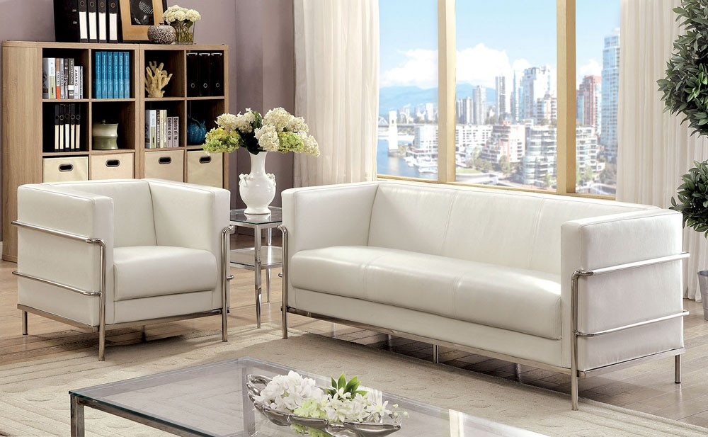 citadel white leather sofa with chrome frame JXDPRBN