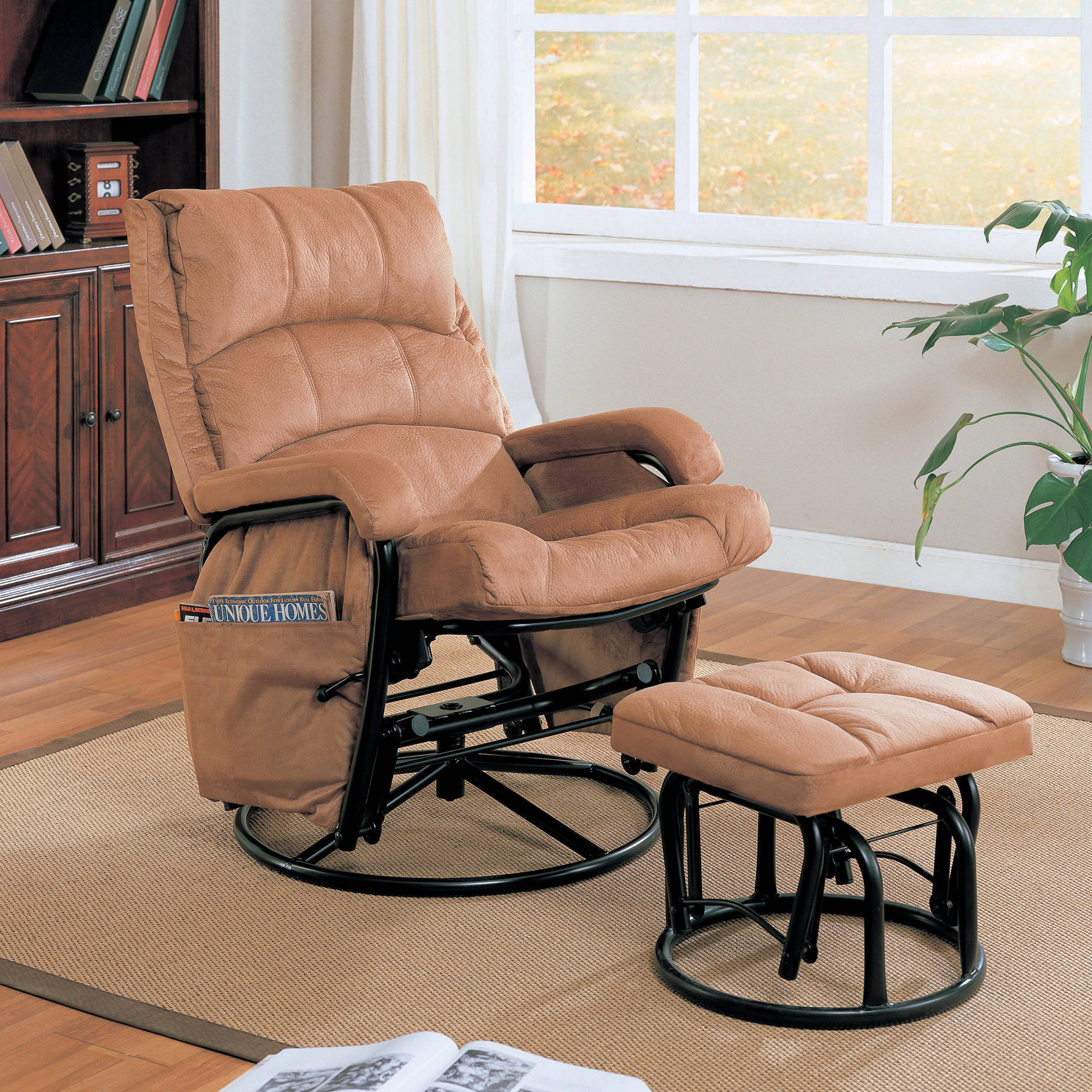 coaster microfiber glider recliner and ottoman in brown EVWHFAH