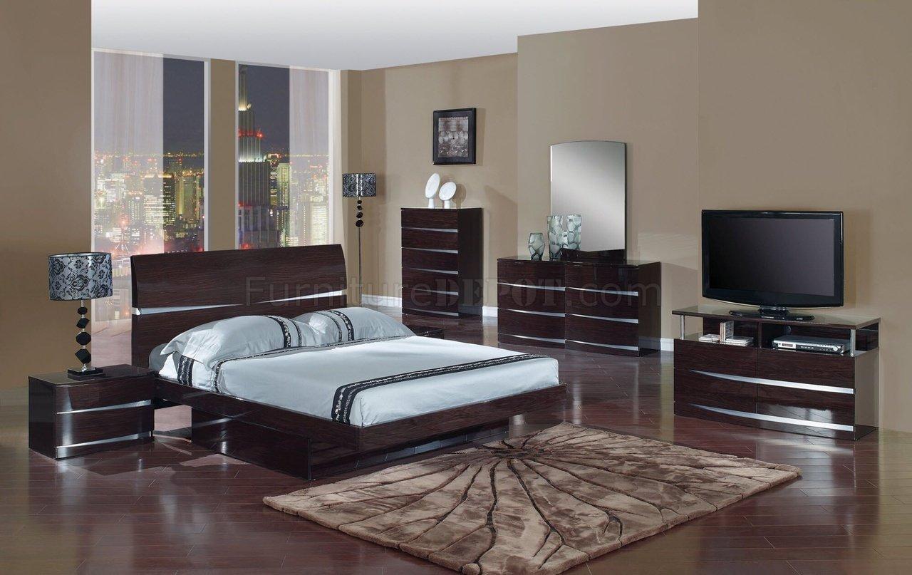contemporary bedroom sets wenge finish modern stylish bedroom set w/optional casegoods FDPCHVT