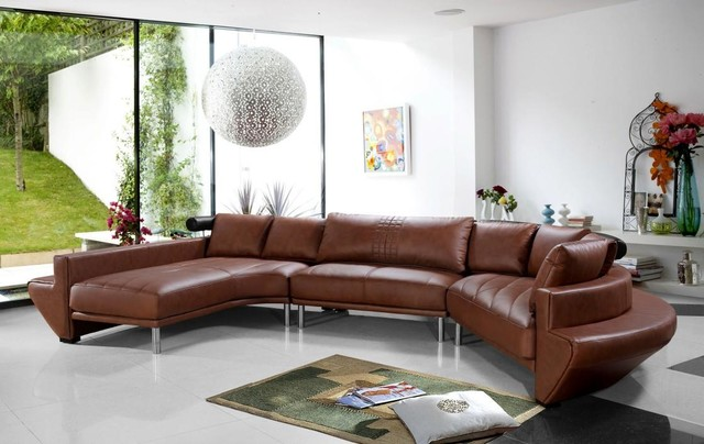 contemporary curved sectional sofa in brown leather modern-living-room KLLAOWC