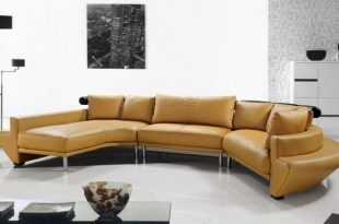 contemporary curved sectional sofa in mustard leather modern-living-room NQJRFWH