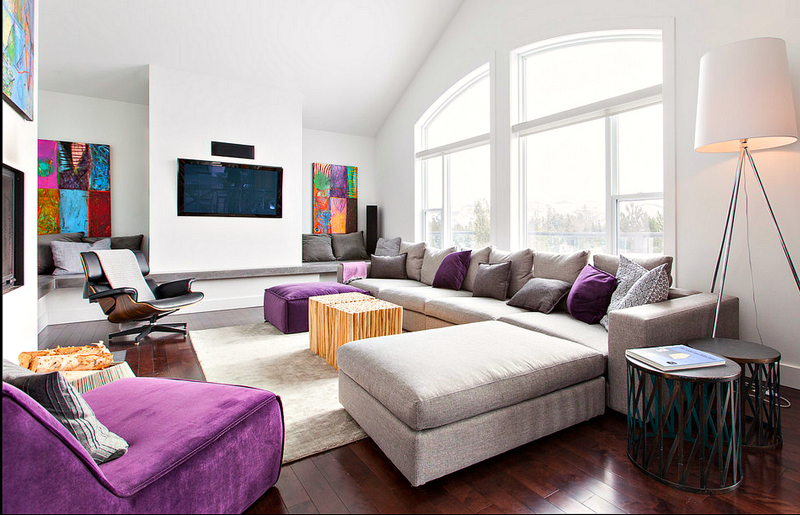 Contemporary decor purple and grey modern decor family room just decorate PJMZOMD