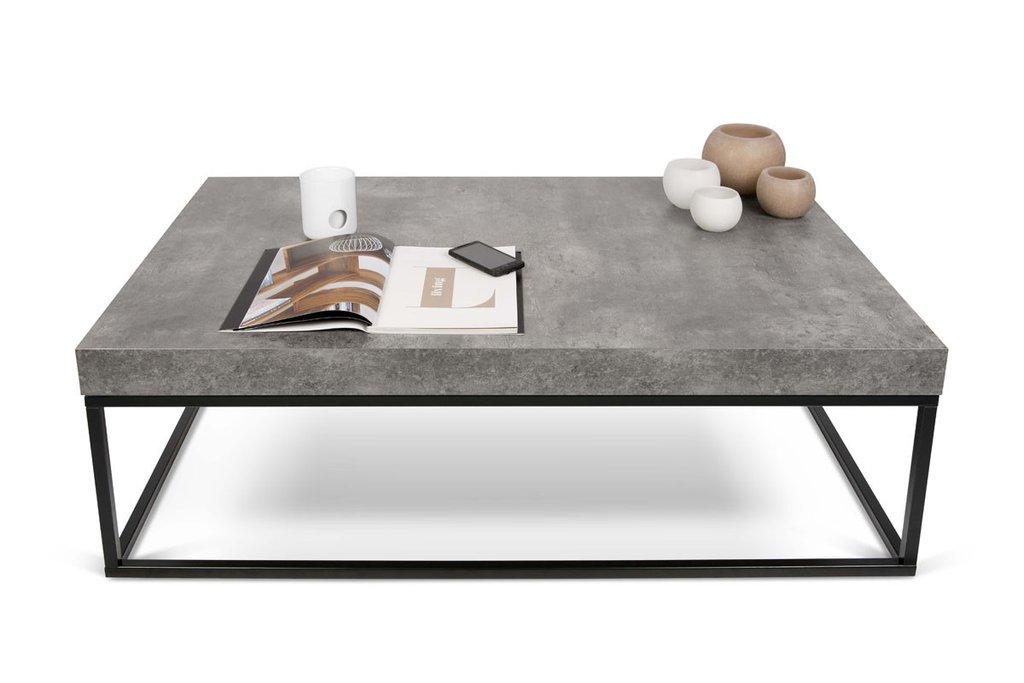contemporary furniture petra 47x30 coffee table faux concrete top / black legs | modern coffee XFSDGKT
