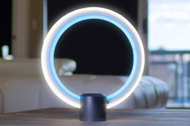 cool lamps this circular table lamp comes with amazonu0027s alexa onboard SLWTPZH