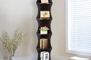 corner shelve amazon.com: go2buy 5 tier wood round wall corner shelf slim  bookshelf/bookcase tall RLBOAZG