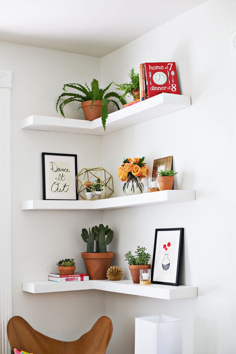 corner shelves diy floating shelves (click through for more) PBXAALW