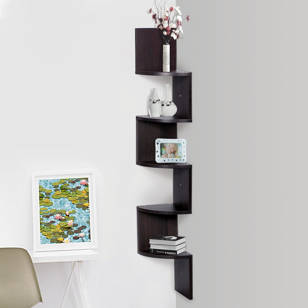 Contemporary corner shelves