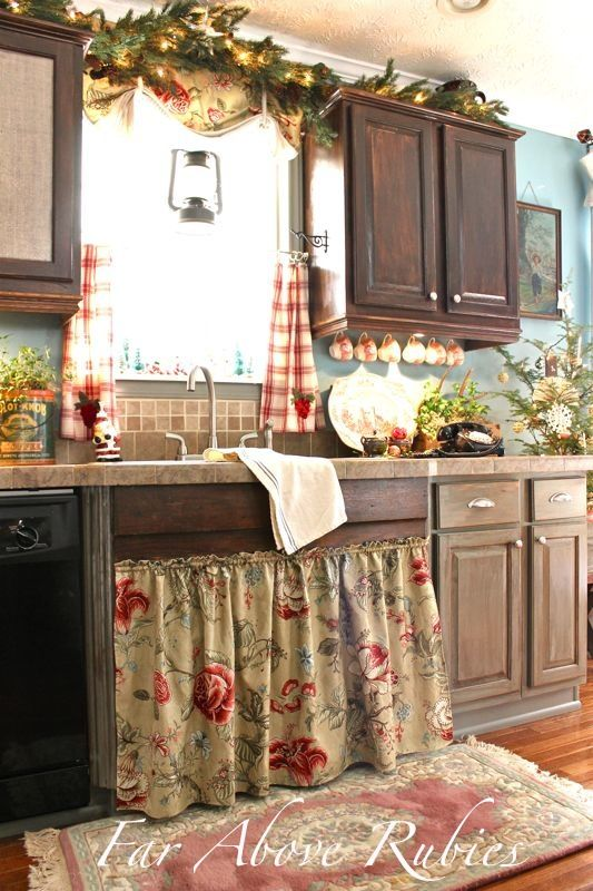 country kitchen curtains country living kitchen ~ love the gingham curtains and floral sink skirt TMBMRGU