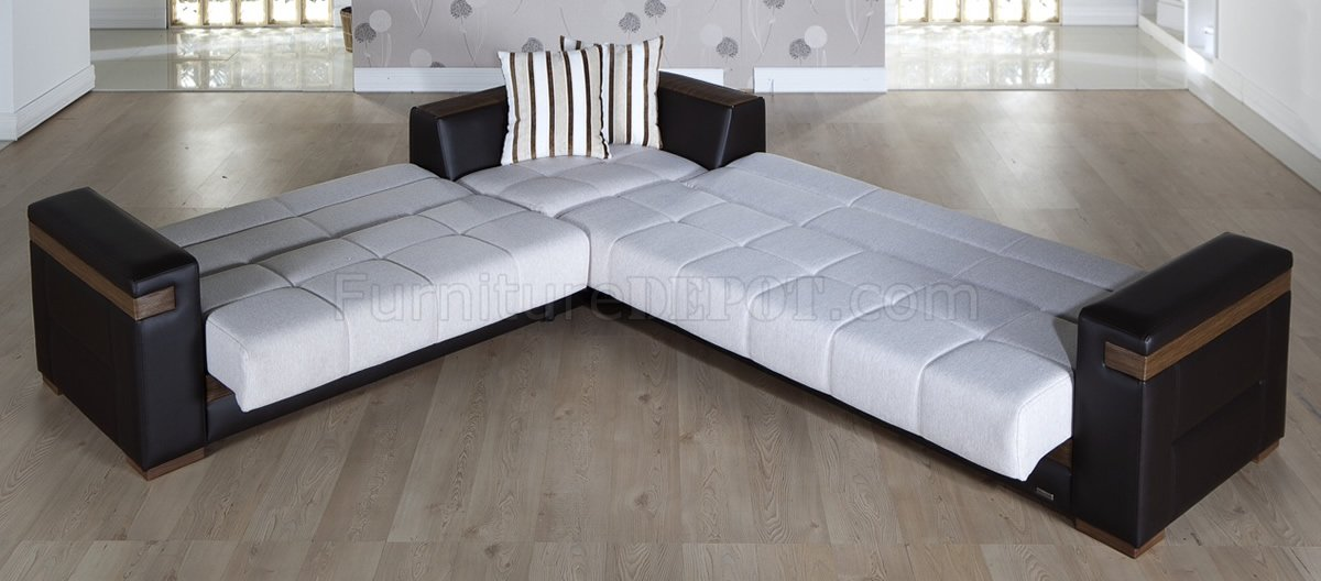 cream fabric u0026 dark leatherette convertible sectional sofa bed VATOYUW