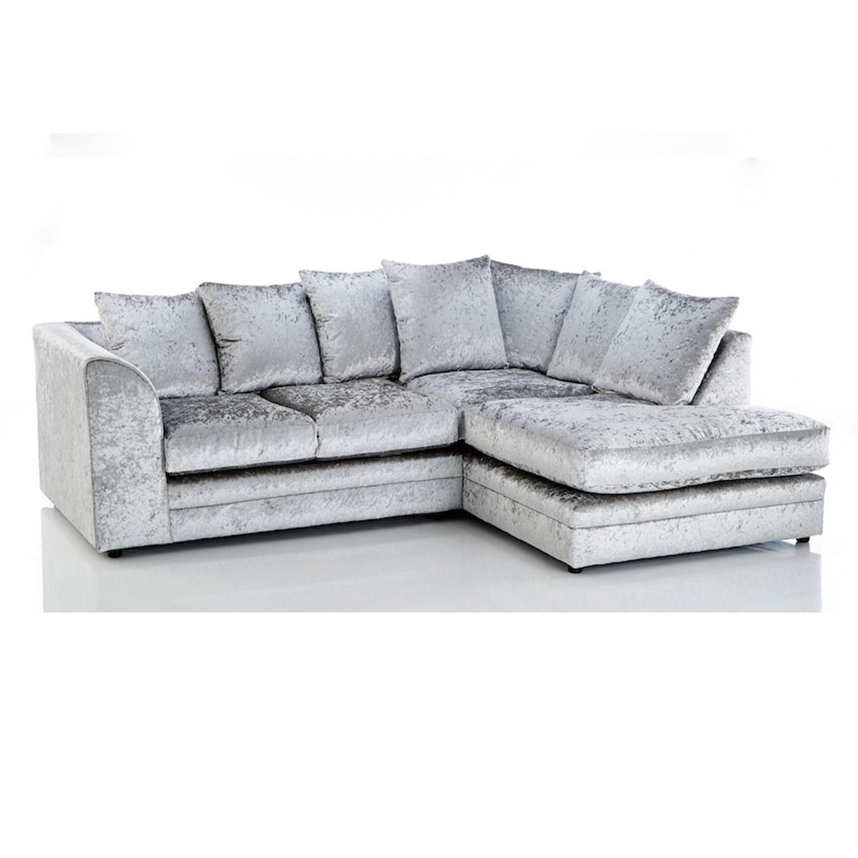crushed velvet sofa crushed velvet, 4 seater sofa, silver, grey, right hand corner sofa IWKSUDH