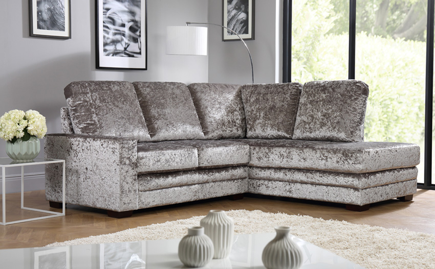 crushed velvet sofa michigan silver crushed velvet l shape corner sofa rhf DCNSTYO
