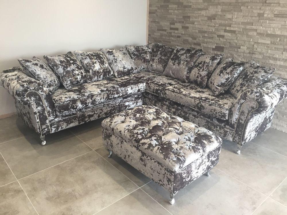 crushed velvet sofa silver panther crush velvet corner sofa bespoke chesterfield all colours KYZOHPU