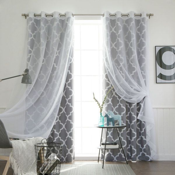 curtains for bedroom aurora home mix u0026 match curtains moroccan room darkening and voile sheer BQJEPFE