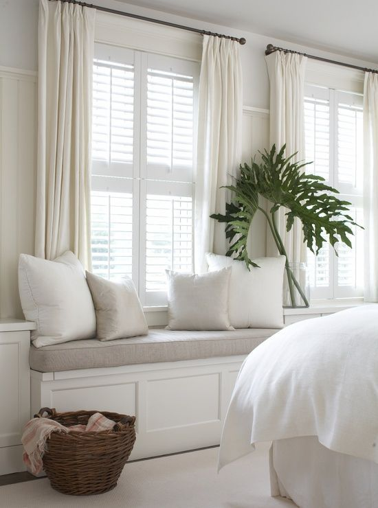 curtains for bedroom bedroom with window seat in soothing shades of white AZRRJFN
