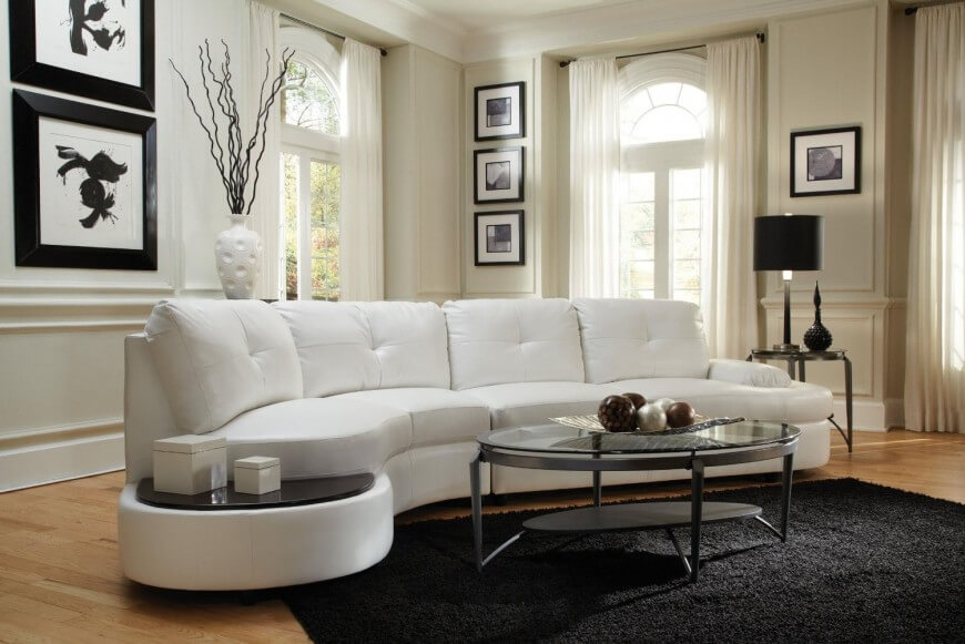 curved sectional sofa thick cushioned button tufted white sectional here features rounded edges  and a GHANXYW