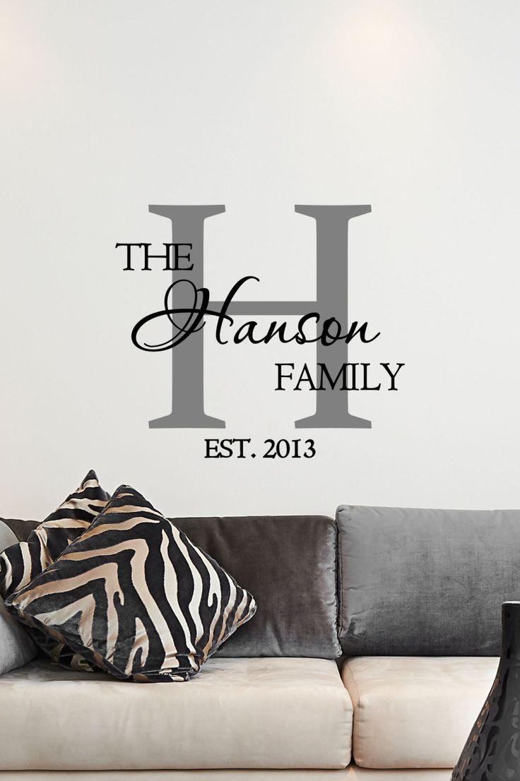 custom family name u0026 monogram vinyl decal - monogram vinyl wall art decal, DEZMGDM