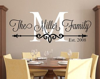 custom wall decals family last name monogram personalized custom wall decal sticker  established date housewarming IQDWWRY