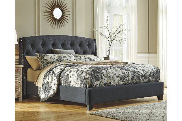 dark gray kasidon queen tufted bed view 1 PXEFPIG